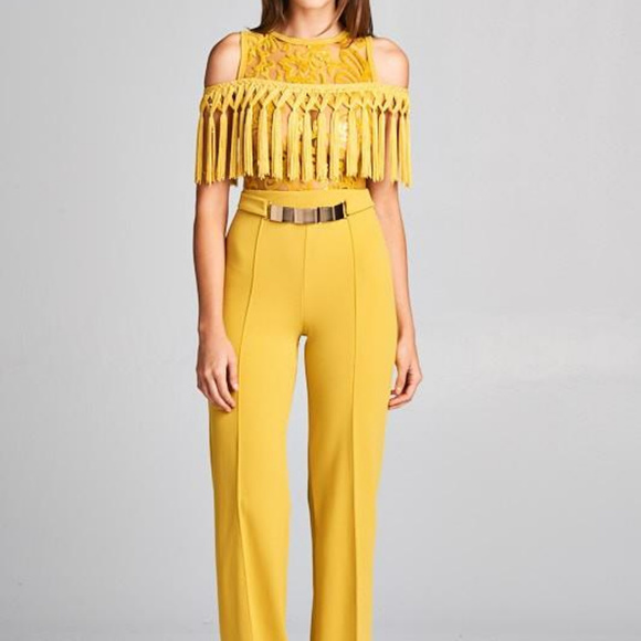 59cce514550 Womens Mustard Yellow Open Shoulder Jumpsuit